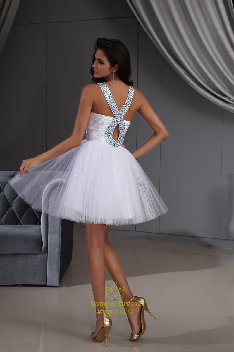 Halter Short Crystal White Cocktail Dresses,Cocktail Dresses With ...
