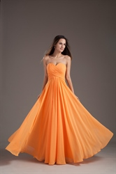 Gorgeous Orange Sweetheart Strapless Ruffles Long Summer Princess Bridesmaid Dress