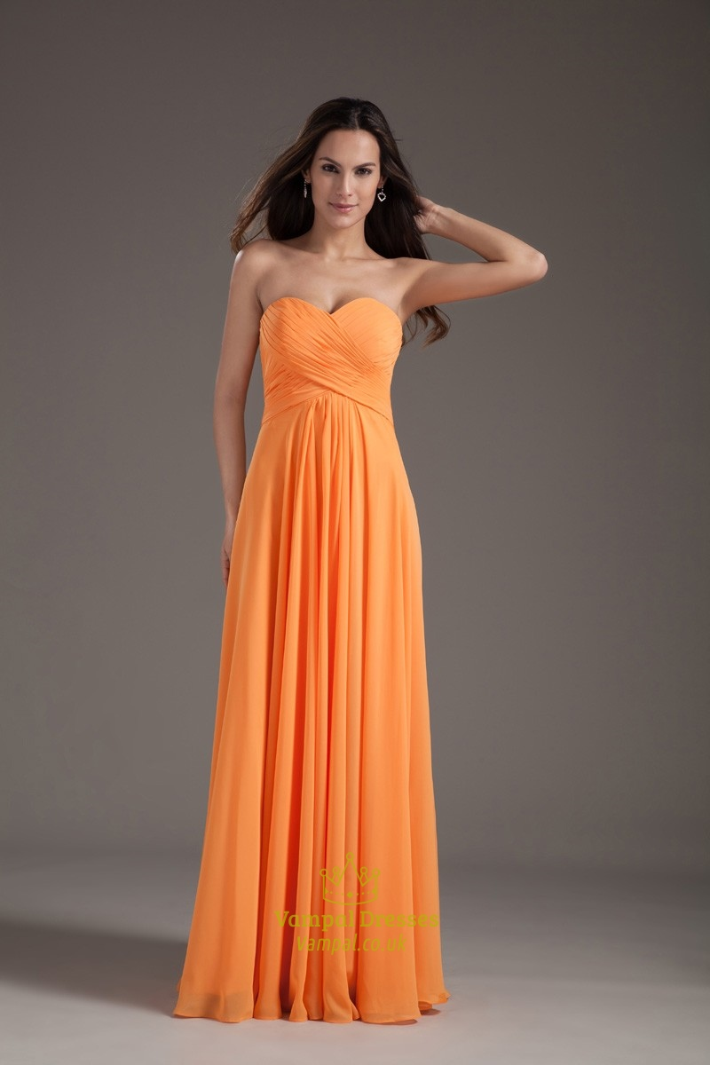 gorgeous orange sweetheart strapless ruffles long summer