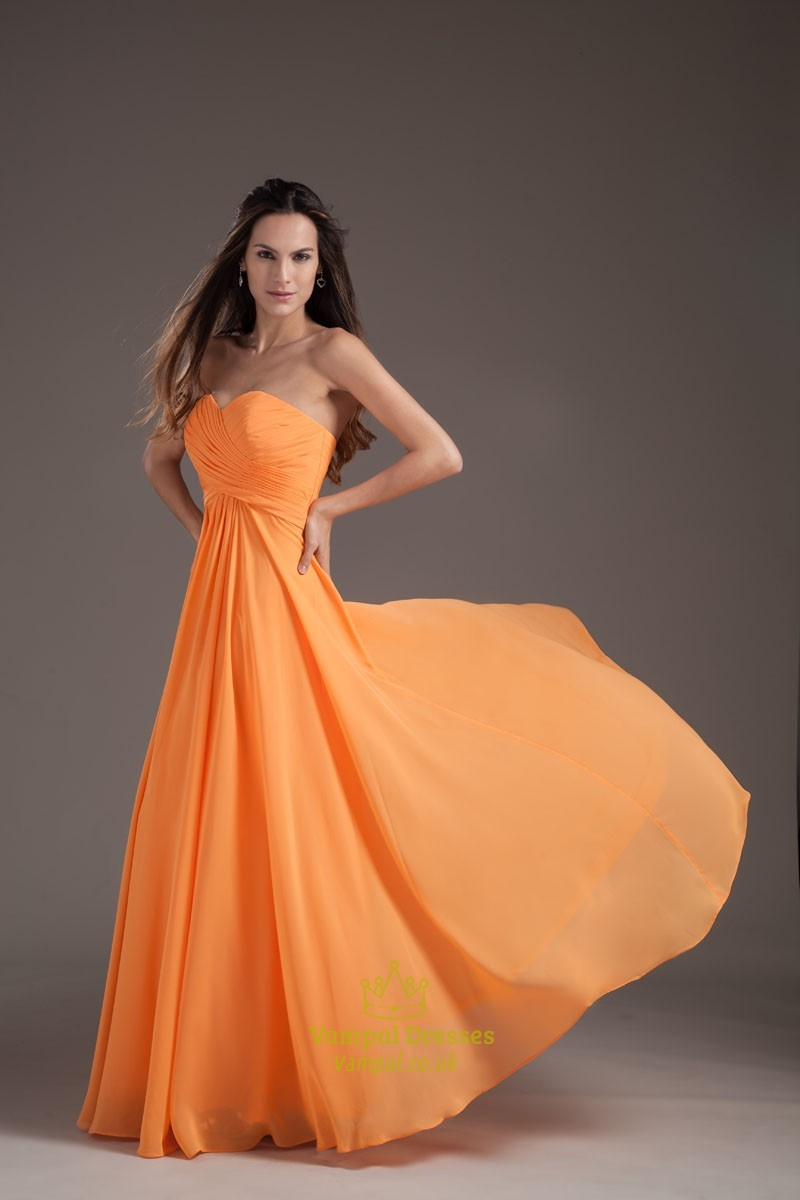 Gorgeous Orange Sweetheart Strapless Ruffles Long Summer ...