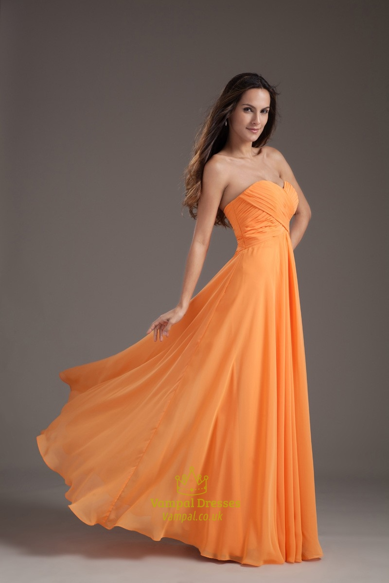 Gorgeous orange sweetheart strapless ruffles long summer for Strapless summer wedding dresses