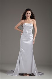 Fascinating Satin Beaded Strapless Ruched Petite Paillette Sliver Long Prom Dresses
