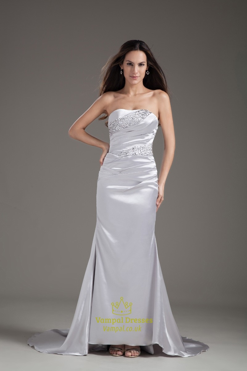 Fascinating Satin Beaded Strapless Ruched Petite Paillette