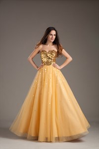 Vintage Daffodil Sequined Sweetheart Neckline Tulle Princess Evening Dress
