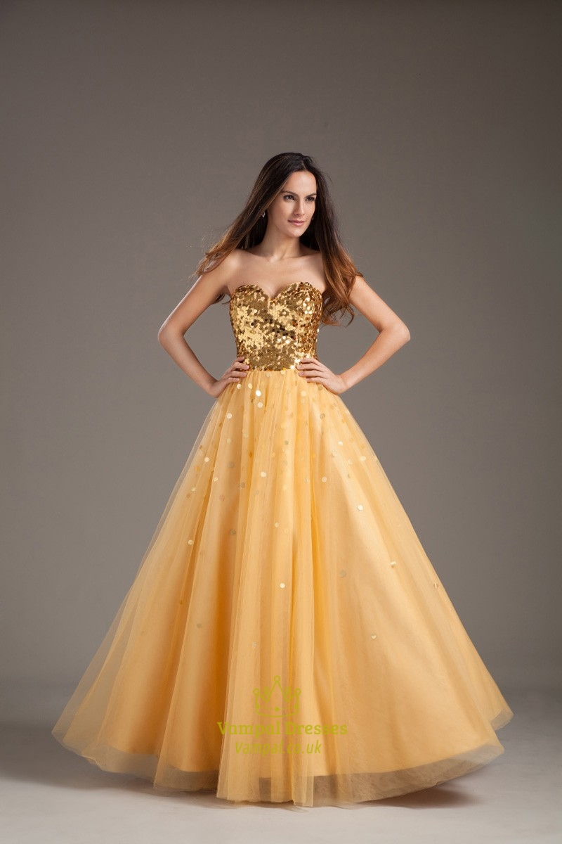 Vintage Daffodil Sequined Sweetheart Neckline Tulle