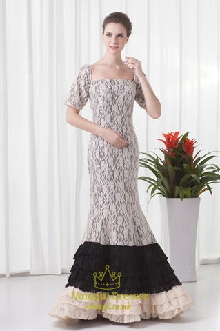 Luxurious All Lace Short Sleeves Mermaid Style Mother Of