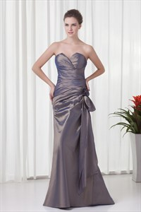 Grey Taffeta Sweetheart Strapless Ruffles Flower Mother Of The Bride Dress with Floral