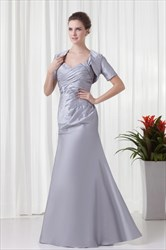 Decent Silver Taffeta Straps Ruffles Long Mother Of The Bride Dress With Jacket