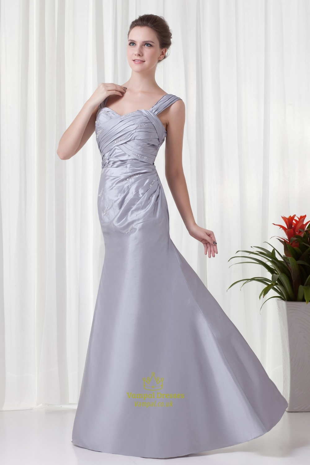 decent silver taffeta straps ruffles long mother of the