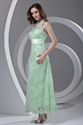 Princess Halter Ankle Length Lace Backless Green Prom Dress with Appliques