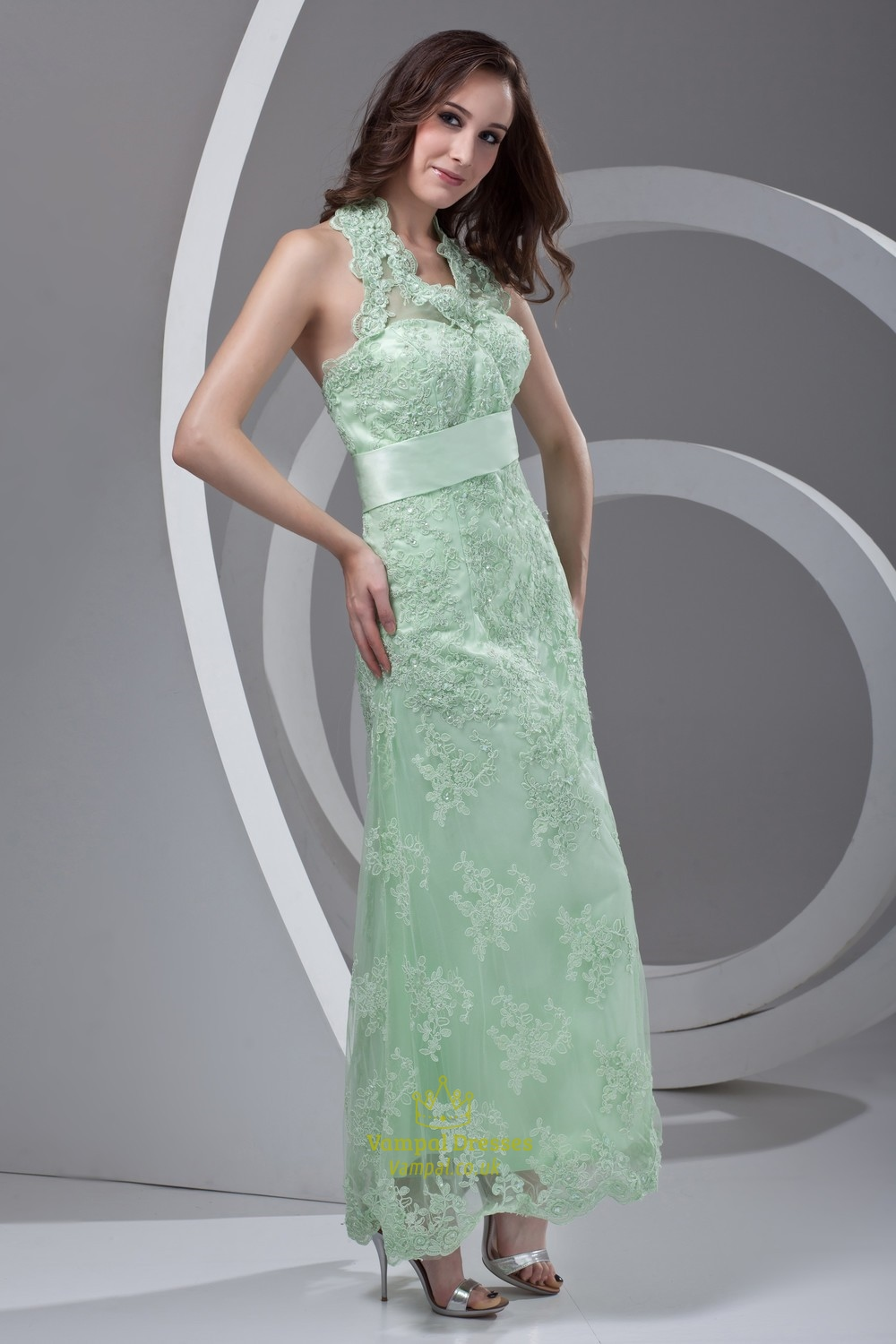 Princess Halter Ankle Length Lace Backless Green Prom