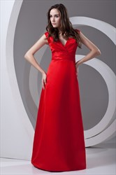 Deep V Neckline Sleeveless Ruffled Floor Length Red Elegant Evening Dress