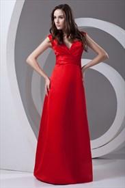 Deep V Neckline Sleeveless Ruffled Floor Length Red Elegant Evening Dress