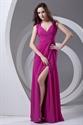 Sheath Fuchsia Chiffon Cut Out Split Floor-Length Sleeveless Maxi Prom Dress