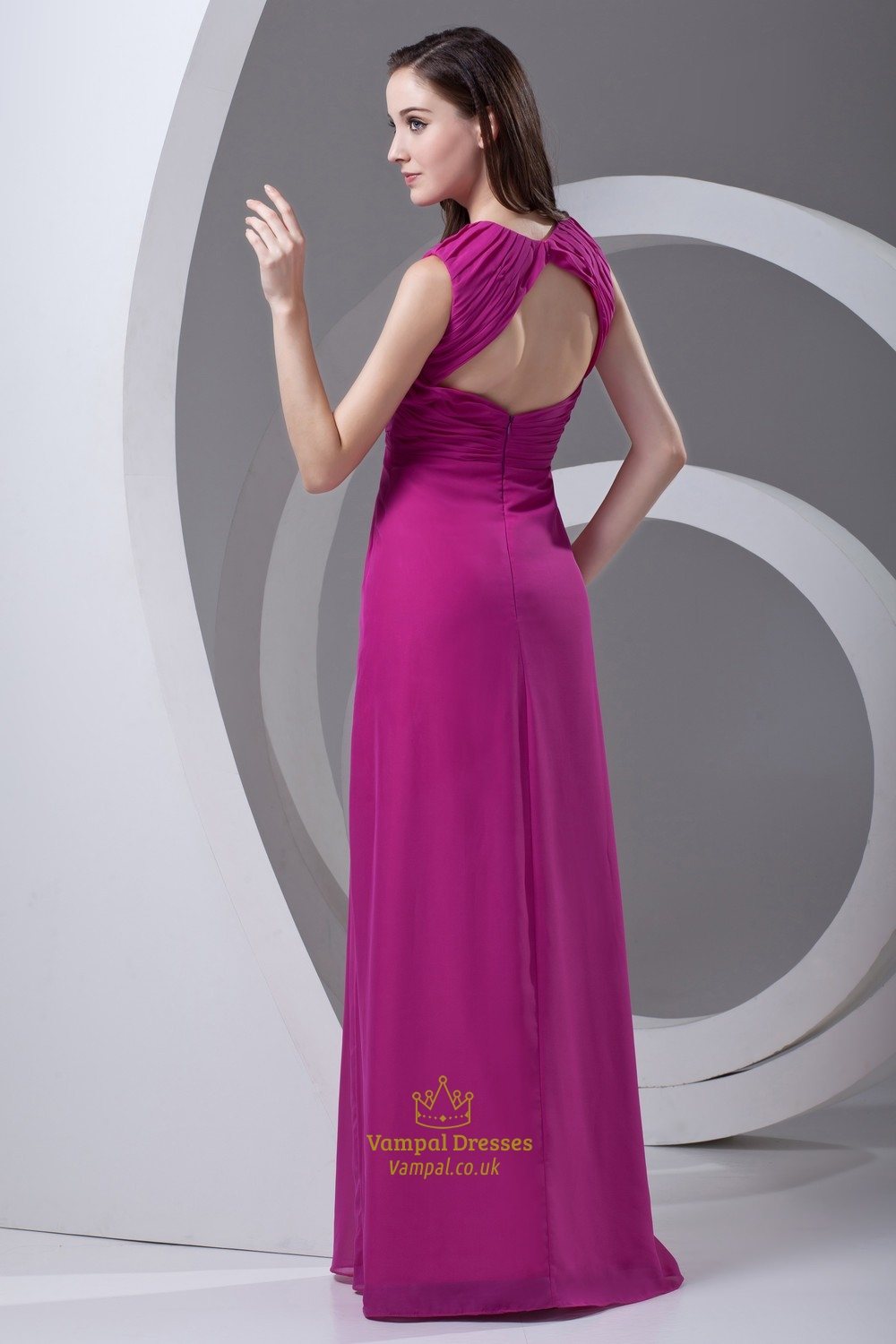 cf1f4dea677b Sheath Fuchsia Chiffon Cut Out Split Floor-Length Sleeveless Maxi Prom Dress
