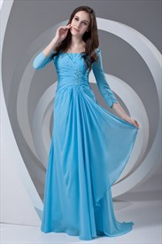 Vintage Light Blue Long Sleeves Ruffles Chiffon Mother Of The Bride Dress