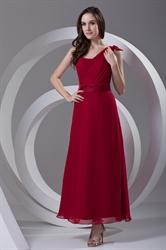 Stylish One Shoulder Ankle Length Chiffon Burgundy Maxi Dress with Ribbons