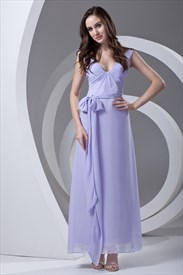 Pretty Chiffon Straps Lilac Princess Summer Prom Dress With Sashes