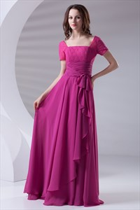 Flowy Chiffon And Lace Fuchsia Short Sleeve Mother Of The Bride Dress with Cascading-Ruffle