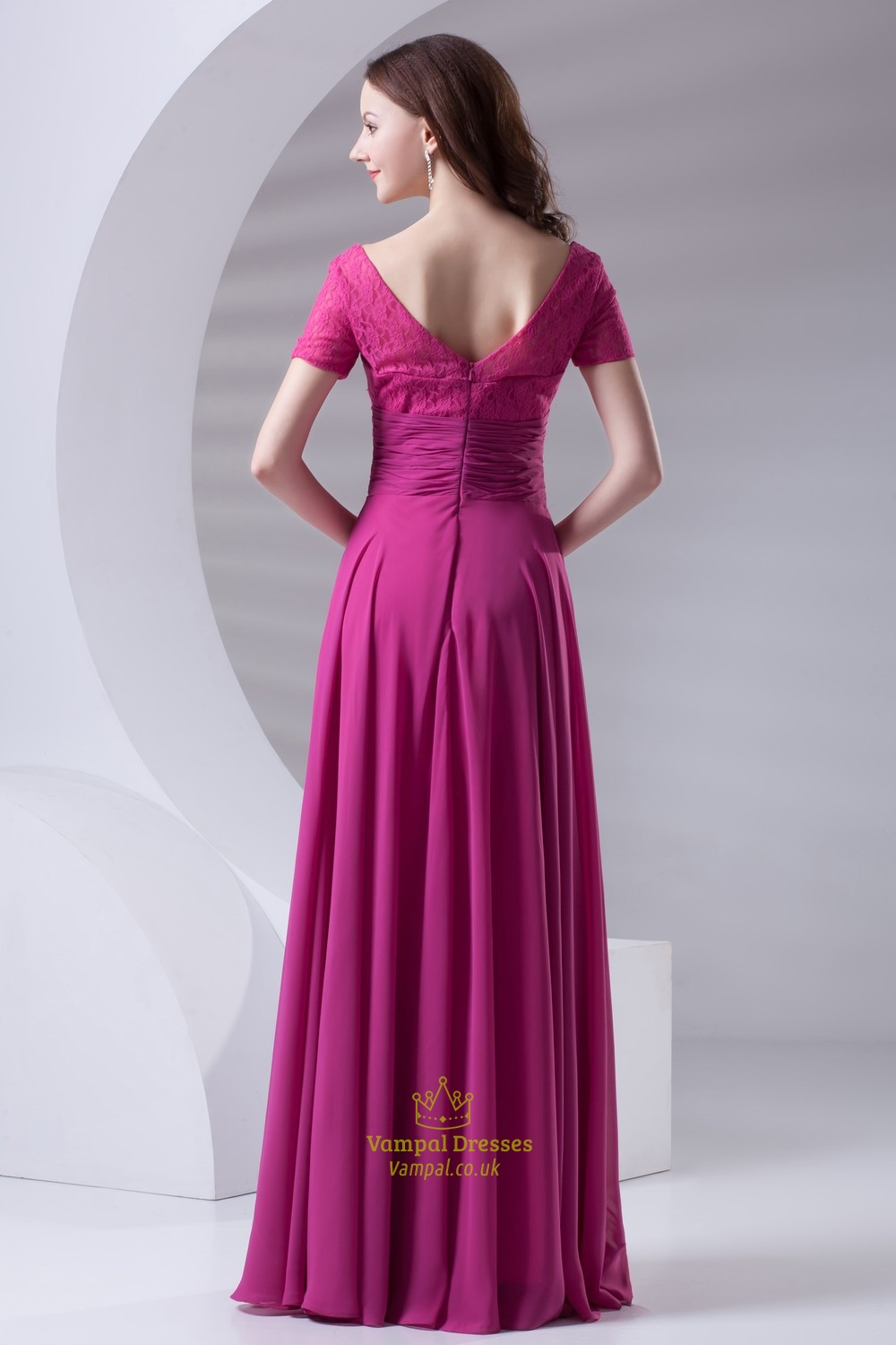 Flowy Chiffon And Lace Fuchsia Short Sleeve Mother Of The Bride ...