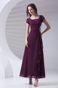 Modern Grape Square Beading Pleated Ankle Length Chiffon Mother Of Bride Dress
