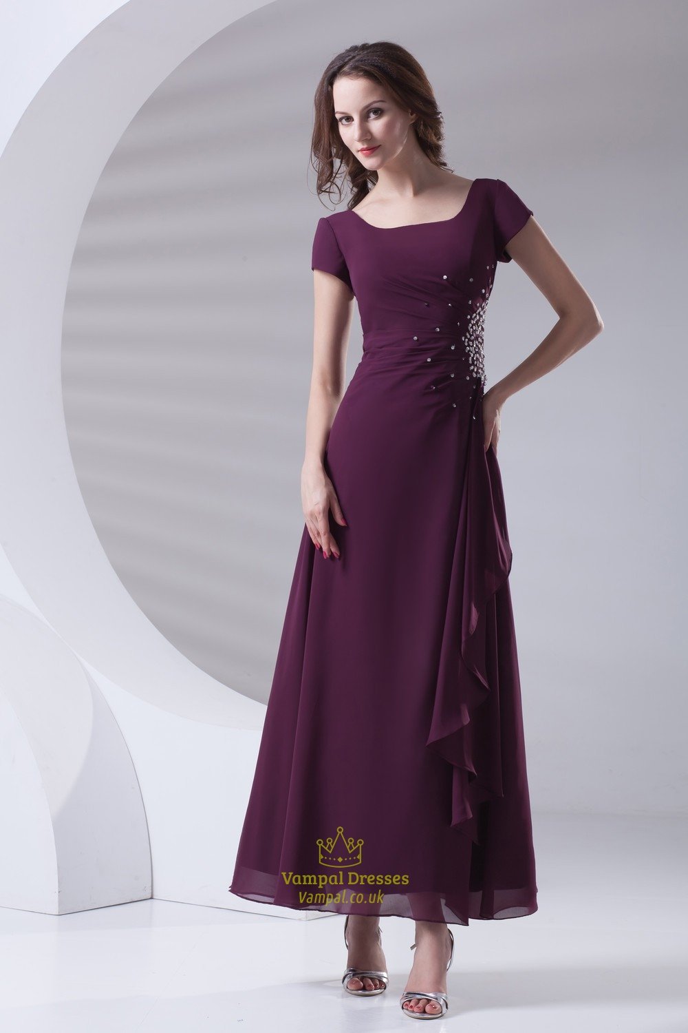 Modern Grape Square Beading Pleated Ankle Length Chiffon Mother Of Bride Dress | Vampal Dresses