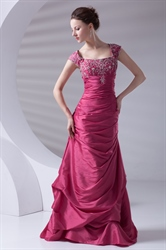 Gentle Square Neckline Fuchsia Taffeta Embroidery Beading Ruffles Prom Dress