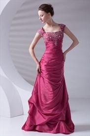Gentle Square Neckline Fuchsia Taffeta Embroidery Beading Ruffles Prom Dress