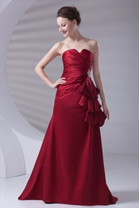 Distinct Red Satin Strapless Floor Length Ruffles Prom Dress