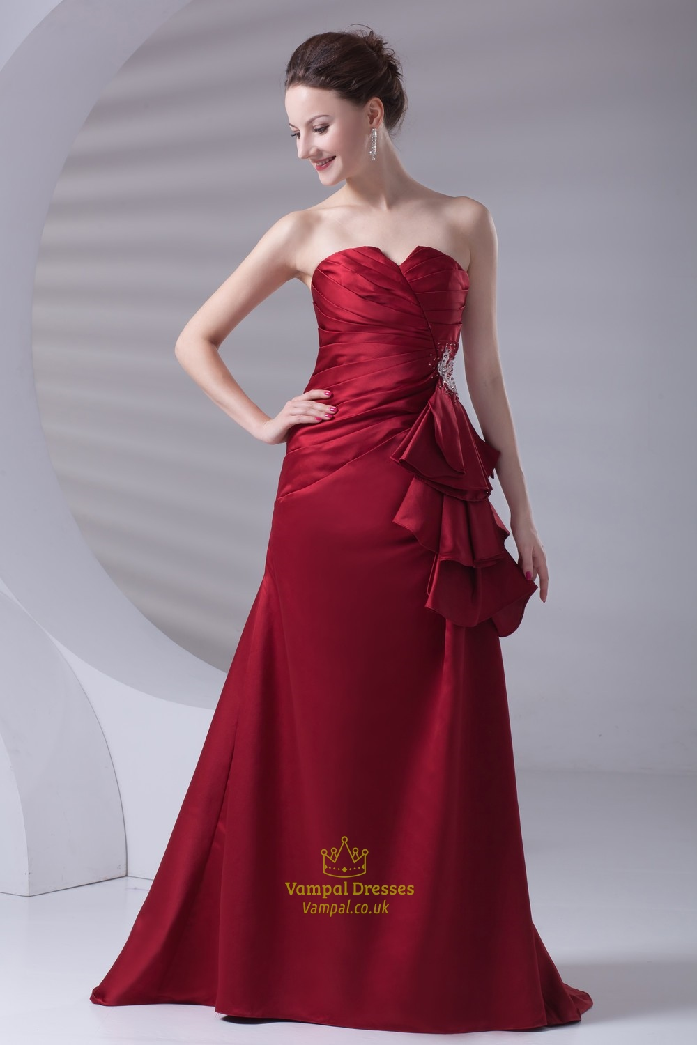 Distinct Red Satin Strapless Floor Length Ruffles Prom