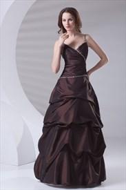 Chocolate Spaghetti Straps Taffeta Ruffles Beading Elegant Sweet Sixteen Gowns