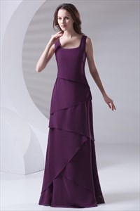 Simple Grape Chiffon Sequined Tiered 2021 Mother of the Bride Dress with Cascading-Ruffle