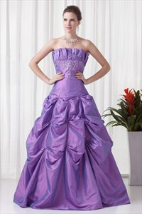Sumptuous Lavender Strapless Ruched Embroidery Floor Length Quinceanera Gown