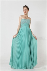 Elegant Turquoise Pleated Sweetheart Maxi Dress 6237