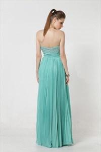 Elegant Turquoise Pleated Sweetheart Maxi Dress 6237
