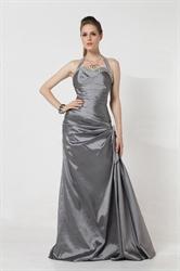 Halter Top Mermaid Floor-Length Asymmetric With Beading Silver Taffeta Party Dress