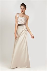 Light Gold One Shoulder Prom Dress