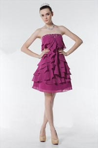 Fuchsia Ruffle Strapless Short Party Prom Dress,Fuchsia Strapless Cocktail Dress
