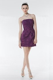 Purple Lace Cocktail Dress,Dark Purple Lace Bridesmaid Dress UK