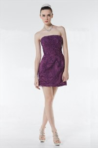 Purple Lace Cocktail Dress,Dark Purple Lace Bridesmaid Dress UK