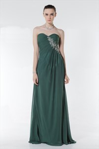 Teal Ombré Chiffon Pleated Strapless Gown,Long Teal Prom Dresses 2021