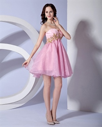 Latest New Sweetheart Princess Sleeveless Embordery Beaded Tulle Mini Prom Dress