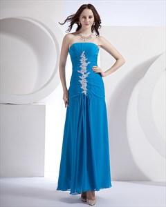 Appliques Aqua Blue Chiffon Strapless Beading Ruffle Floor Length Evening Dress