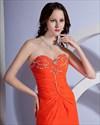 Strapless Sequins Sweetheart Side Slit Chiffon Sweep Train Orange Evening Dress