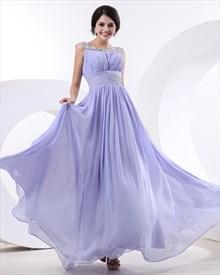 Beaded Decorate Bateau and Waist Lilac Chiffon Maxi Prom Dress
