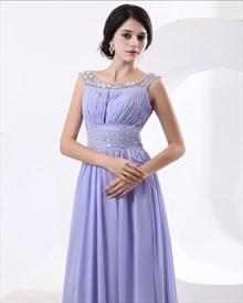 Pretty Chiffon Straps Lilac Princess Summer Prom Dress
