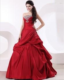 Taffeta Ruffle Strapless Beading Floor Length Quinceanera Dresses