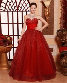 Red Quinceanera Dresses 2019,Red Ball Gown Prom Dresses 2019