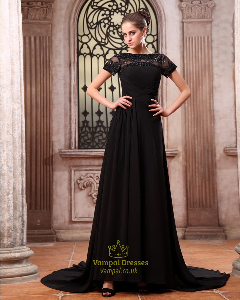 Elegant Black Formal Prom Dresses,Black Maxi Dresses With Sleeves UK ...