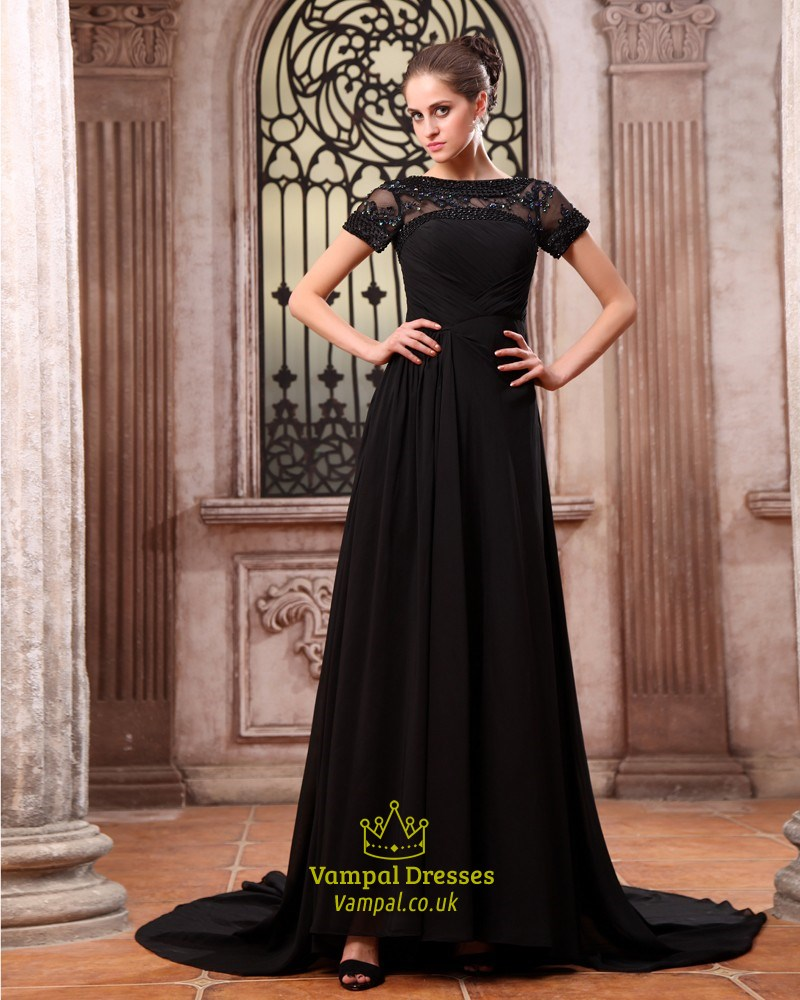 e9ce890853 Elegant Black Formal Prom Dresses,Black Maxi Dresses With Sleeves UK ...